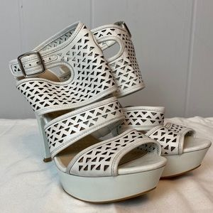 Bakers | Size 8. White Perforated Petra Heels